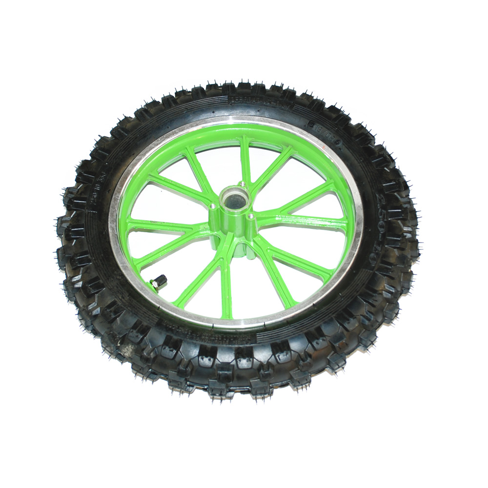 Mini Dirt Bike Front Wheel And Tyre Complete Green Mini
